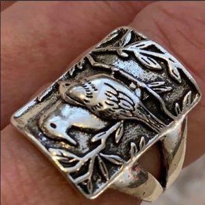 Love bird Ring 925 silver patina